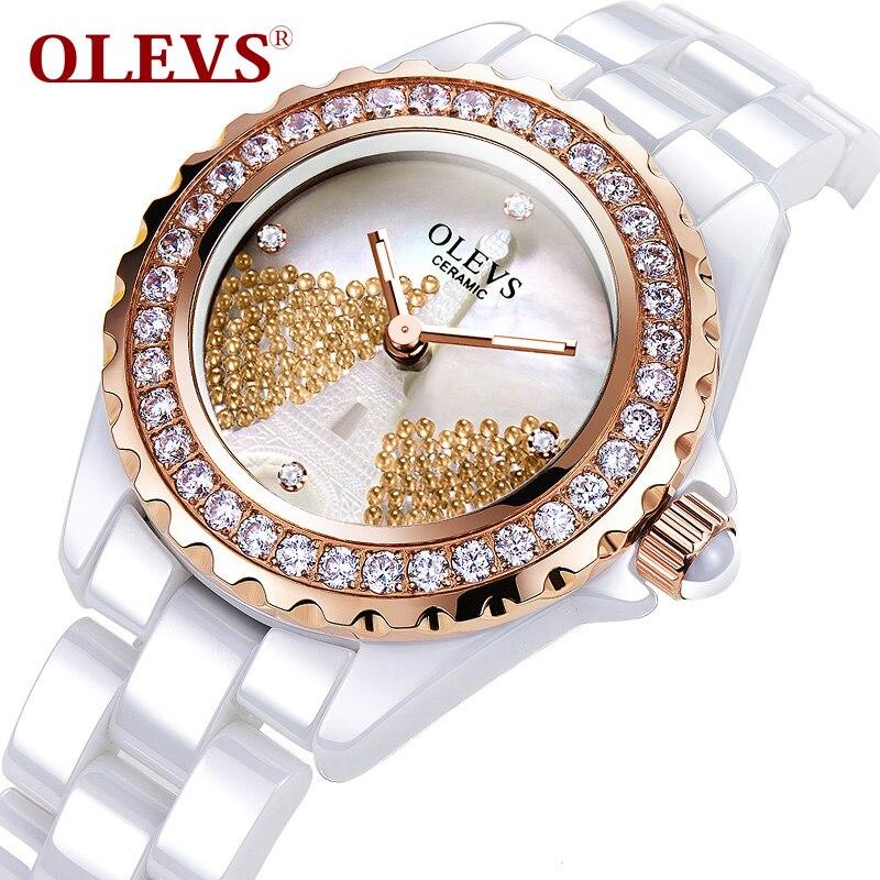 OLEVS Luminous Needle Wrist Watch Eiffel Tower &amp; Bead Rotate Bezel Lady Ceramic Watch Rhinestones Dial Quartz Women Watches L143<br>