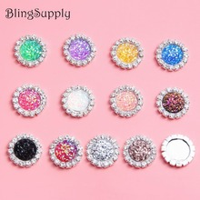BTN-5721 18mm 100PCS decorative bling AB shine glitter crystal rhinestone buttons flat back embellishment can mix colors(China)