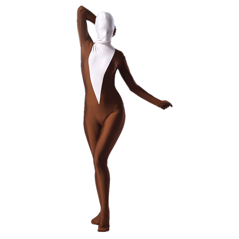 C030 Coffee And White Female Lycra Spandex Costumes-1_