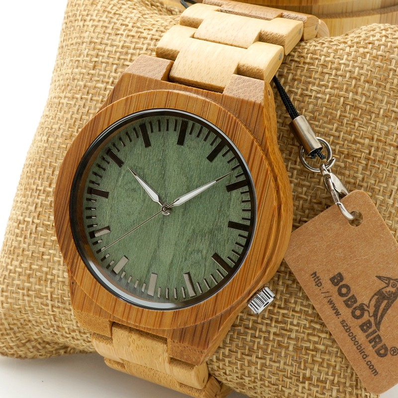 BOBO BIRD B22  Mens Top Brand Design Green Wood Dial Watch with Full Bamboo Wooden Bands in Round Box<br><br>Aliexpress