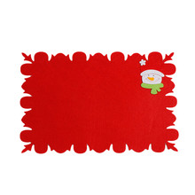 1PC Red Bowl Fork Knife Placemat Non-wovens Mat  Christmas Dining Table Decorations Party Home Decor navidad 2017