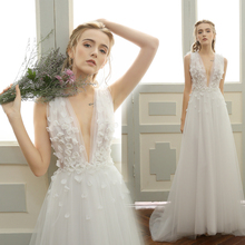 Buy Backless Sexy Bridal Gowns Ivory Tulle Wedding Dresses Deep V Neck Wedding Gowns Line Bridal Gowns Beach Vestido de novia 2017 for $265.00 in AliExpress store