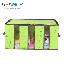 VEAMOR Bamboo Charcoal Storage Box Nonwoven Storage  for Home Organization Plus Size Tank Window Transparent Folding Box WB1244
