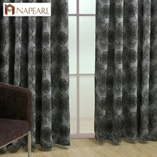 Floral curtains for living room window blue black shade luxury jacquard curtain fabrics for balcony kitchen door curtains(China)