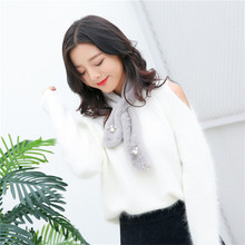 Ladies Faux Fur Scarf Lmitation Rabbit Bow Ties Fashion Pearls Neck Criss Cross Scarves for Women Cute Student Winter Scarf(China)