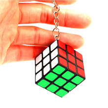 Mini Rainbow Puzzle Cube Key Chain 3x3x3 Magic Cube Creative Cube Hang Decorations for Learning&Educational Child Toys- Colorful(China)