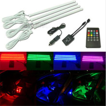 4X 30cm LED strip Car styling Air atmosphere interior Car light RGB 8 color Ambient Infrared remote Wireless Music control(China)