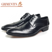 GRIMENTIN men leather shoes genuine leather black vintage classic men dress derby male shoes business(China)