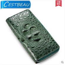 French imports limited without ms splicing crocodile female clutches leather zipper long women day clutches(China)