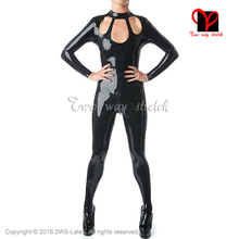 Buy Sexy Latex Catsuit open front back crotch zipper Rubber Jumpsuit Unitard overall Long sleeves LT-104