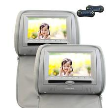 "Dual Car Pillow Headrest DVD Player 7"" HD 800480 LCD Screen FM&IR Transmitter CD DVD AV Video Player Games Remote Control Leathe(China)"