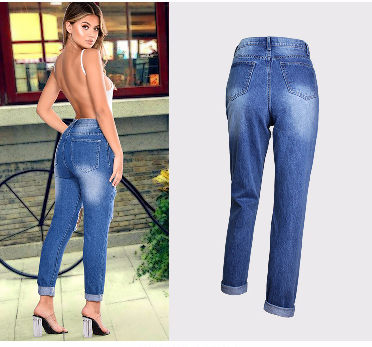 2018 Casual European Station Europe and the United States Style BF Wind Women Sequin Straight Hole Large jeans New Loose pants (5)