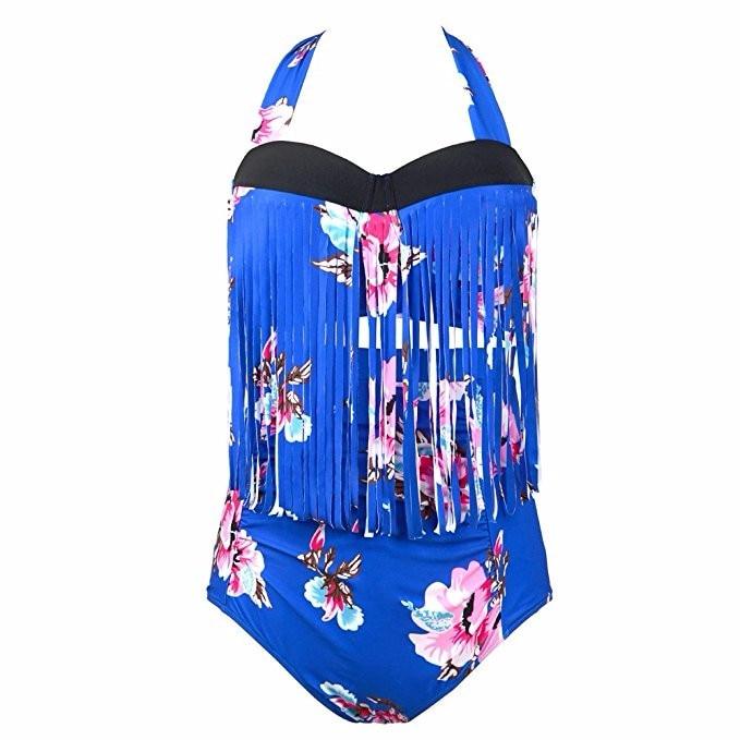 Women Plus Size Swimwear High Waist Tassel Swimsuit Push Up Bikini Set Floral Print Fringe Bathing Suits Large Size Bikini 6XL <br><br>Aliexpress