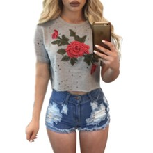 YSMARKET vintage embroidery casual t shirt women summer tops 2017 hot selling products online cheap clothes china top crop E3