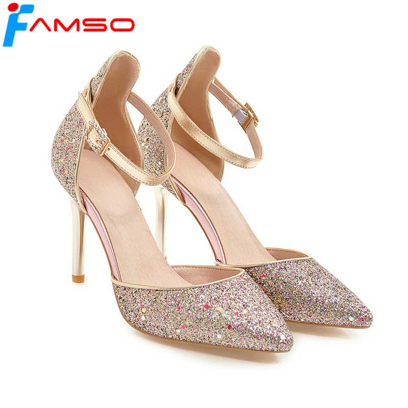 FAMSO Size34-43 2018 Women Sandals  Pointed Toe gold Silver red Wedding Shoes Summer Female Party Glitter High Heels Sandals<br>