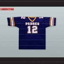 LANSHITINA American Football Jersey Tom Brady 12 Junipero Serra Padres High School Football Jersey Throwback Blue Stitched(China)