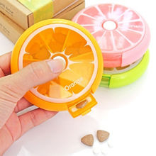Orange/Pink/Green Convenient 1pcs Round 7 Day Tablet Pill Weekly Boxes Holder Medicine Storage Organizer Container Case Useful