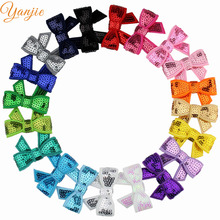 "100pcs/lot Boutique 1.8"" Mini Glitter Sequins Hairbow WITHOUT Hair Clips For Girls And Kids Hair Bow Headbands Hair Accessories"