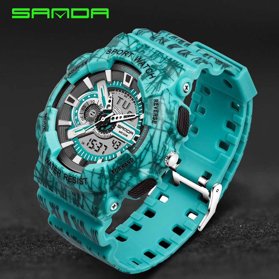 SANDA Dual Movement Sports Watches Men Electronic Digital Analog Shockproof Silicone Line Watches Waterproof Wristwatches <br><br>Aliexpress