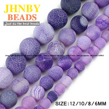 JHNBY Purple Weathered carnelian beads Natural Stone Top quality Round Loose bead ball 6/8/10/12MM Jewelry bracelet making DIY()