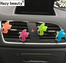 Hazy beauty Crystal butterfly car perfume interior air freshener car styling Perfumes 100 Original Fragrance Car Air Purifier(China)