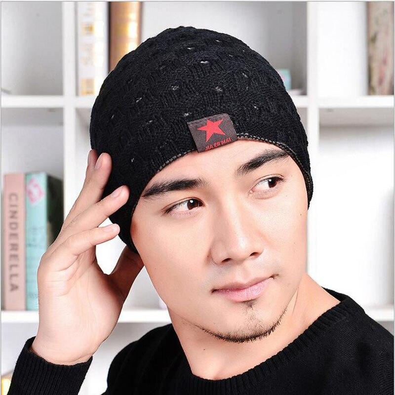 2016 New Winter Hats For Men Skullies Fashion Mens Wool Hats Caps Winter Bone Visor Beanie Small Five-pointed Star Knit Hat Îäåæäà è àêñåññóàðû<br><br><br>Aliexpress