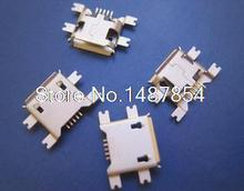 ( 100pcs/lot ) 5pin Female Micro USB Connector, SMD 4 Fixed feet, Widely used in tablet, phones and PDA