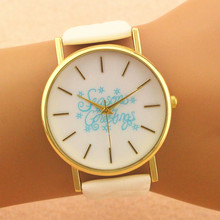 100pcs/lot great sale season greeting christmas day gift watch leather watch wrap quartz casual watch for unisex cheap watch(China)