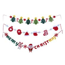 Cute Hats Boots/Snowman Elk/Star Christmas tree Hang Flags Cute Pattern Navidad Decorations Gift Bunting Banner Flag Party Favor(China)