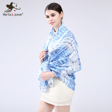 [Marte&Joven] Newest Luxury Brand Unique Bohemian Pattern Printing Women Autumn Shawl And Scarf High Quality Cotton Blue Scarves