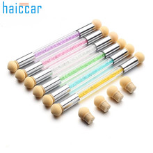 High Quality Picking Dotting Gradient Pen Brush 6 Sponge Set Glitter Powder Nail Art Tools M19#25(China)