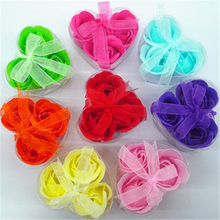 3Pcs/Box Colorful Heart-Shaped Rose Soap Flower Romantic Wedding Party Gift Handmade Petals Decor(China)