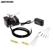Gravity Feed Dual Action Airbrush Air Compressor Kit 100-250V for Art Painting Tattoo Manicure Craft Cake Spray Model Nail Set