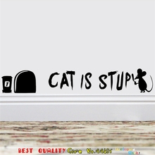 Cat And Mouse Hole Designs Wall Stickers Cat Is Stupid Tom Jerry Wallpaper Decals Kids Bed Room Ornament Diy Vinyl Mural Art