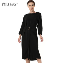 Buy JLI MAY Women office dress black belted shift backless o-neck wrist split autumn casual loose ladies dresses womens clothing for $19.99 in AliExpress store