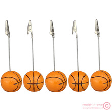 wholesale:lot 5pcs solid resin basket ball wire recipe&desk&card&note&memo&photo clip/holder or paper weight