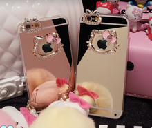 Beautiful Diamond Rhinestone Hello Kitty+Mirror Soft TPU case cover For Apple iphone 4 4s 5 5s SE 6 6s 7 plus(China)