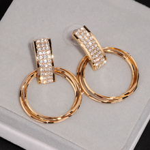 New Simple Design Personalized Earrings Brinco Gold Color Crystal Earring Big Metal Circle Drop Dangle Earrings For Women E1739(China)