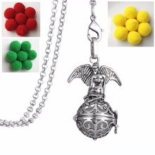 Clearance cheap pendant luminous guardian angel necklace women Locket Aromatherapy Perfume Essential Oil Diffuser jewelry(China)