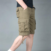 New Summer Mens Cargo Shorts Men Casual Shorts Fashion Pockets Solid Color Army Green Military Shorts Large Size(China)