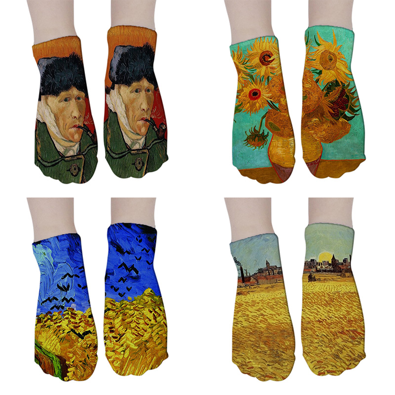 10 Pairs World Famous Painting Art Socks Mona Lisa Starry Night Monet Van Gogh