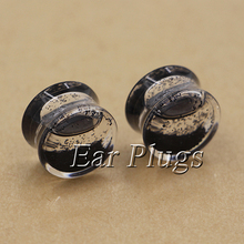 1 pair black glitters ear plug gauges transparent acrylic flesh tunnel liquid plugs body piercing jewelry PLP0004