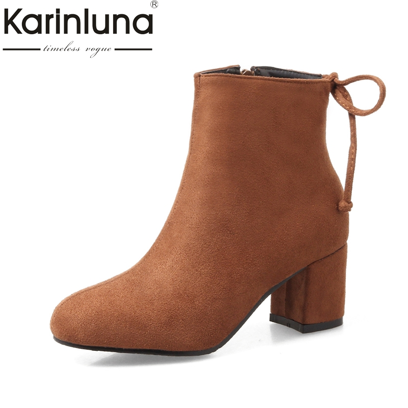 KarinLuna large size 31-47 brand shoes women fashion square heels zip up autumn winter ankle boots woman shoes<br>