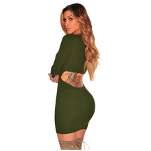 MAKE New Women's Spring Autumn Sexy Solid Hollow Out lace short Dress Casual Party Long Sleeve sexy Dress Green Rose Red Black