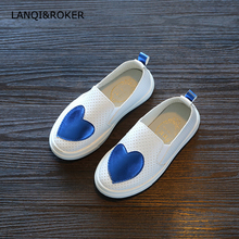 2018 New Children Sneakers Spring Autumn Kids School Shoes For Toddler Girls Flats Casual Tennis Breathable White Leather Shoes(China)