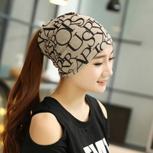 Fashion Winter Fall Women's Hat Letter Prints 2 Use Cap Knitted Wool Scarf Beanies Women Hip-Hop Skullies Warm Girls Gorros F2(China)