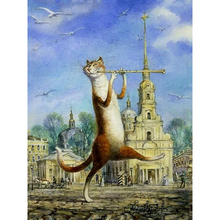 Frameless Music Flute Cat Animals DIY Painting By Numbers Wall Art Picture Unique Gift Hand Painted Oil Painting For Home Decor(China)