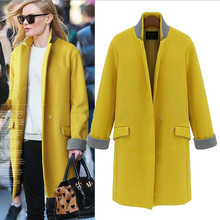 2015 Design New Autumn and Winter Trench Coat Plus Size Women Medium Long Oversize Warm Wool Jacket European Fashion Overcoat