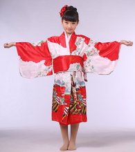 Vintage Red Japanese Baby Girl Kimono With Obi Traditional Yukata Obi Performance Dance Dress Kid Evening Party Dress NK023