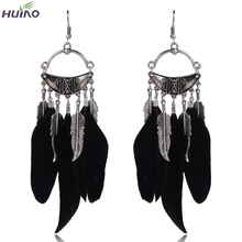 Black Feather Brand Designer Fashion Earrings For Russia on Aliexpress